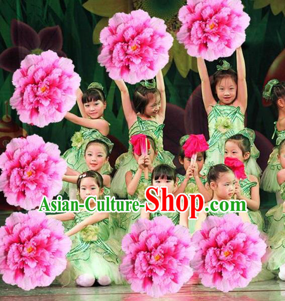 Chinese Folk Dance Props Accessories Stage Performance Pink Peony Umbrellas for Kids