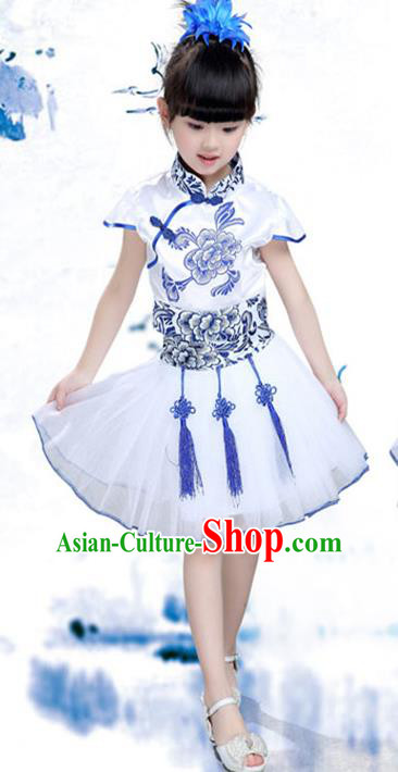 Traditional Chinese Classical Dance Yangko Costume, Children Folk Dance Chorus Blue Dress for Kids