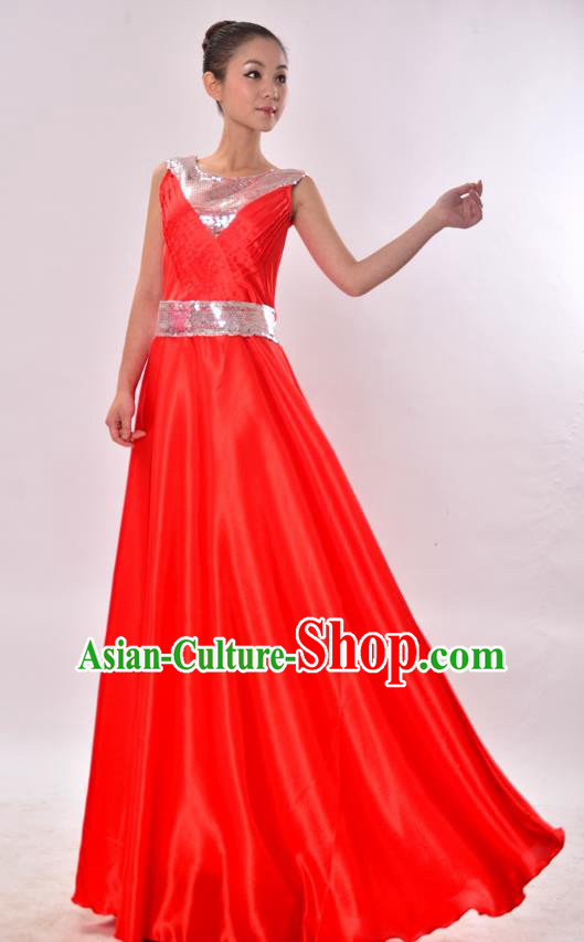 Traditional Chinese Modern Dance Chorus Costume, Women Opening Dance Red Dress for Women