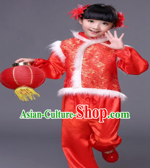 Traditional Chinese New Year Folk Dance Costume, Children Classical Yangko Dance Clothing for Kids