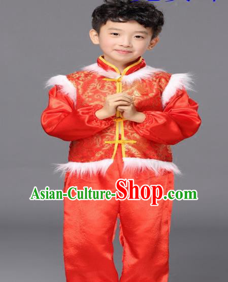 Traditional Chinese New Year Drum Dance Costume, Children Classical Yangko Dance Clothing for Kids