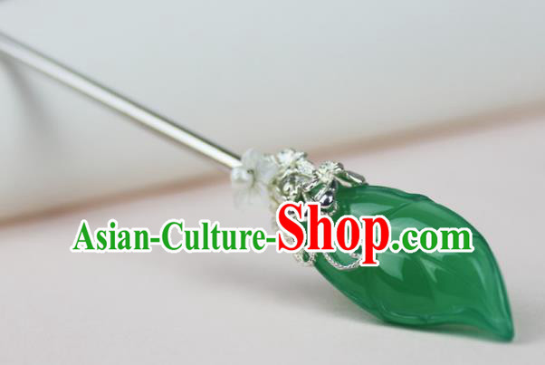 Chinese Ancient Handmade Hair Accessories Green Jade Hairpin Hair Fascinators Hairpins for Women