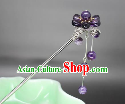 Chinese Ancient Handmade Hair Accessories Purple Beads Tassel Step Shake Hair Stick Hairpins for Women