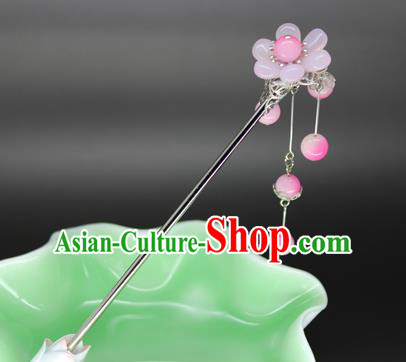 Chinese Ancient Handmade Hair Accessories Pink Beads Tassel Step Shake Hair Stick Hairpins for Women