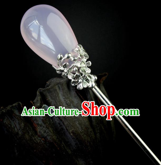 Chinese Ancient Handmade Hair Accessories Pink Hair Stick Hairpins for Women