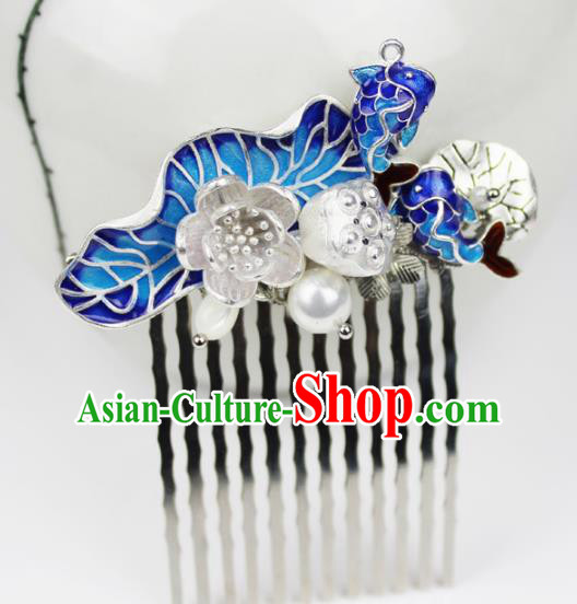 Chinese Ancient Handmade Hair Accessories Classical Blueing Fishes Lotus Hairpins Hair Combs for Women