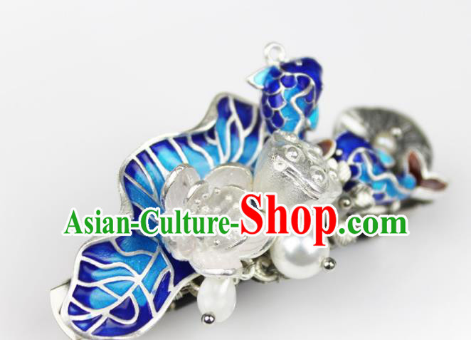 Chinese Ancient Handmade Hair Accessories Classical Blueing Fishes Lotus Hairpins Hair Claw for Women