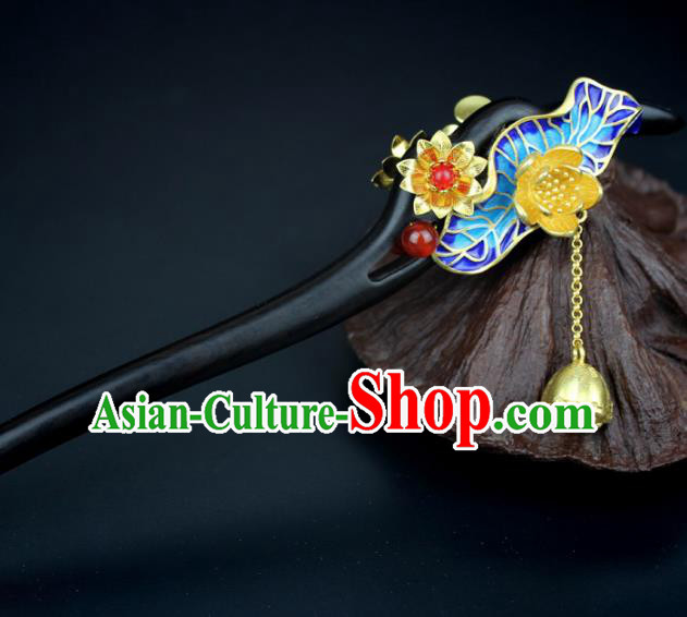 Chinese Ancient Handmade Hair Accessories Classical Hairpins Blueing Lotus Leaf Hair Clips for Women