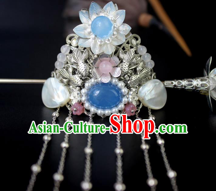 Chinese Ancient Handmade Hair Accessories Classical Hairpins Tassel Hair Crown for Women