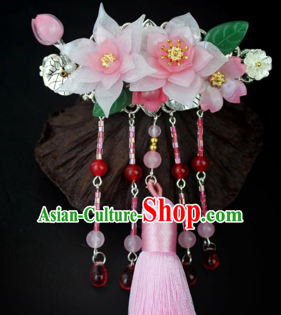 Chinese Ancient Handmade Hair Accessories Classical Hairpins Pink Tassel Hair Claw for Women
