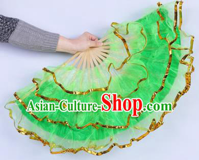 Chinese Folk Dance Props Accessories Stage Performance Yangko Green Folding Fans for Women