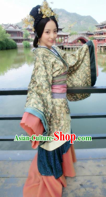 Chinese Han Dynasty Imperial Concubine Traditional Replica Costume Ancient Palace Lady Hanfu Dress for Women