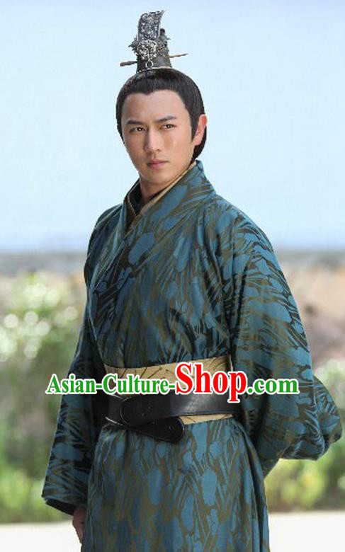 Traditional Ancient Chinese Emperor Clothing Han Dynasty Majesty Liu Heng Replica Costume for Men