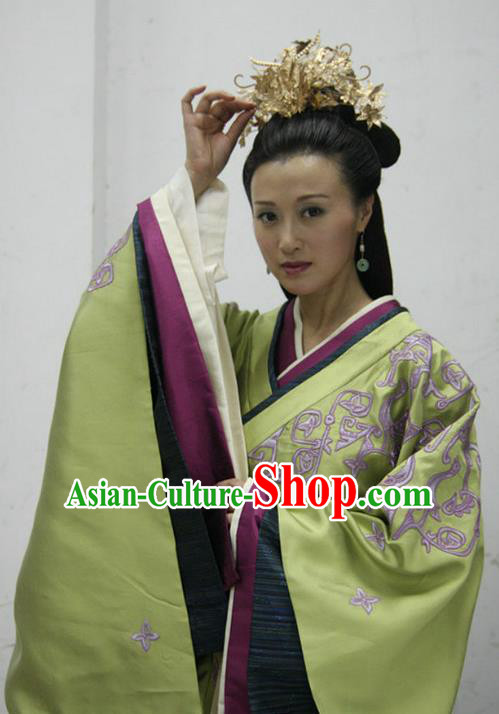 Ancient Traditional Chinese Han Dynasty Empress Dowager Bu Replica Costume Hanfu Dress for Women