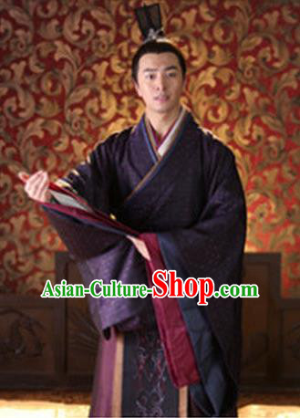 Traditional Ancient Chinese Han Dynasty Nobility Childe Lv Lu Replica Costume for Men