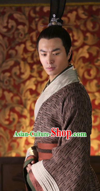 Traditional Ancient Chinese Han Dynasty Minister Nobility Childe Lv Lu Replica Costume for Men