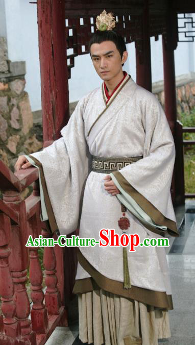 Traditional Ancient Chinese Han Dynasty Liang Prince Liu Wu Replica Costume for Men