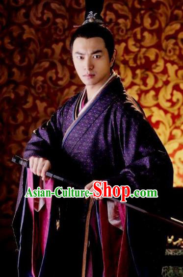 Traditional Ancient Chinese Han Dynasty Consort Clan Lv Lu Replica Costume for Men