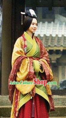 Ancient Traditional Chinese Eastern Han Dynasty Coquette Wei Yue Hanfu Dress Replica Costume for Women