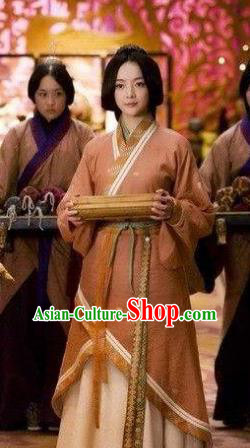 Ancient Traditional Chinese Eastern Han Dynasty Palace Lady Hanfu Dress Replica Costume for Women