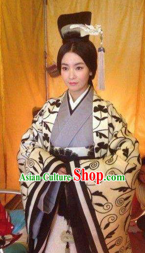 Ancient Traditional Chinese Han Dynasty Empress Dowager Deng Replica Costume Hanfu Dress for Women