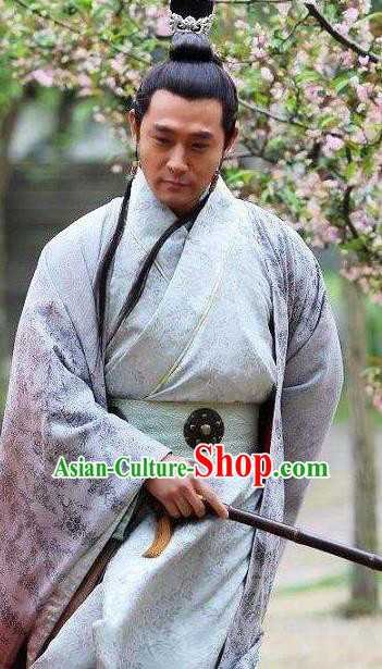 Traditional Ancient Chinese Han Dynasty Minstrel Court Musician Xiao Yu Replica Costume for Men