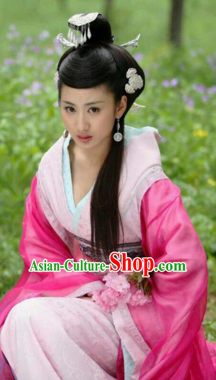 Ancient Traditional Chinese Han Dynasty Imperial Consort Zhao Hede Hanfu Dress Embroidered Replica Costume for Women