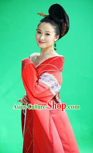 Ancient Traditional Chinese Han Dynasty Authoress Imperial Consort Ban Hanfu Dress Replica Costume for Women