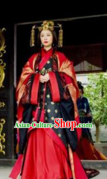 Ancient Traditional Chinese Eastern Han Dynasty Empress Yin Lihua Replica Costume Hanfu Wedding Dress for Women