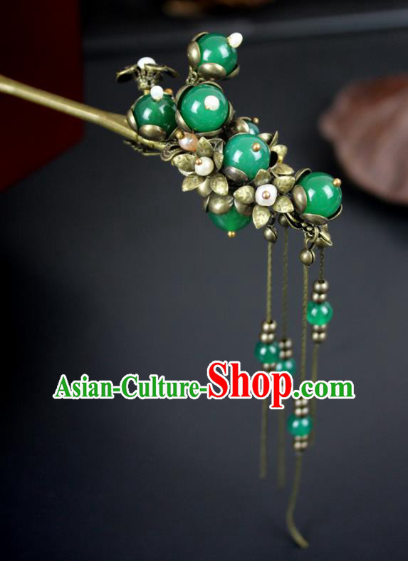 Chinese Ancient Handmade Hair Accessories Classical Hairpins Green Beads Hair Clip for Women
