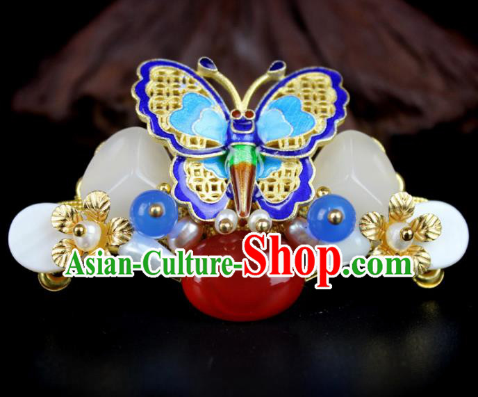 Chinese Ancient Handmade Hair Accessories Classical Jade Hairpins Blueing Butterfly Hair Claw for Women