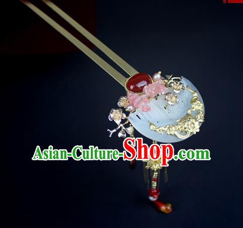 Chinese Ancient Handmade Hair Accessories Classical Hairpins Wedding Jade Hair Clip for Women