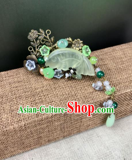 Chinese Ancient Handmade Hair Accessories Classical Hairpins Jade Fish Hair Claw for Women