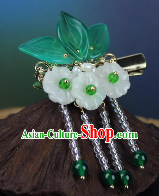 Chinese Ancient Handmade Hair Accessories Classical Hairpins Jade Flowers Hair Claw for Women