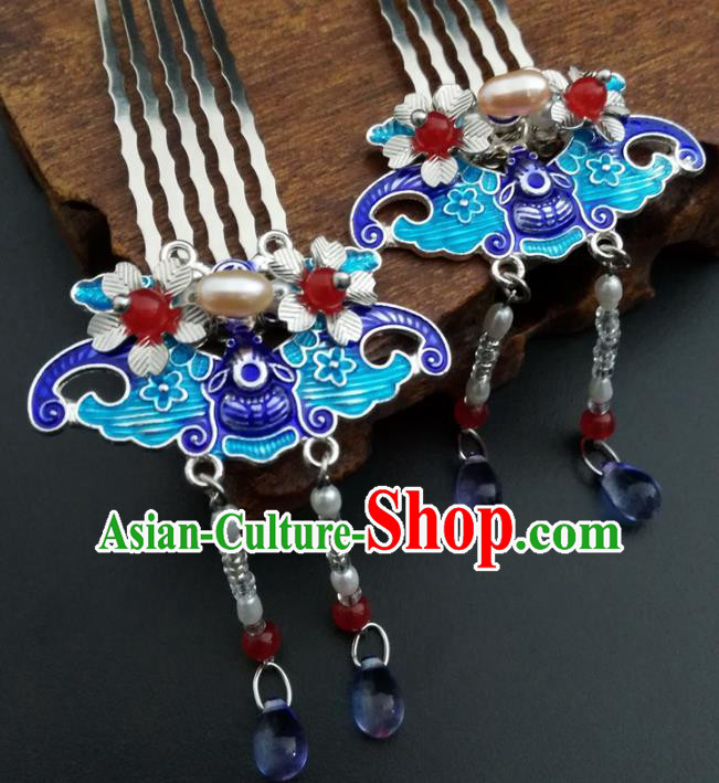 Chinese Ancient Handmade Hair Accessories Classical Hairpins Blueing Hair Comb for Women