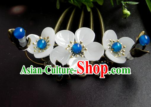 Chinese Ancient Handmade Hair Accessories Hairpins Classical Hanfu Blue Beads Flowers Hair Comb for Women