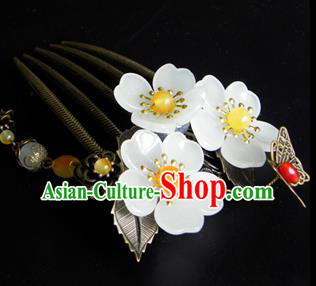 Chinese Ancient Handmade Hair Accessories Hairpins Classical Hanfu Flowers Tassel Hair Comb for Women