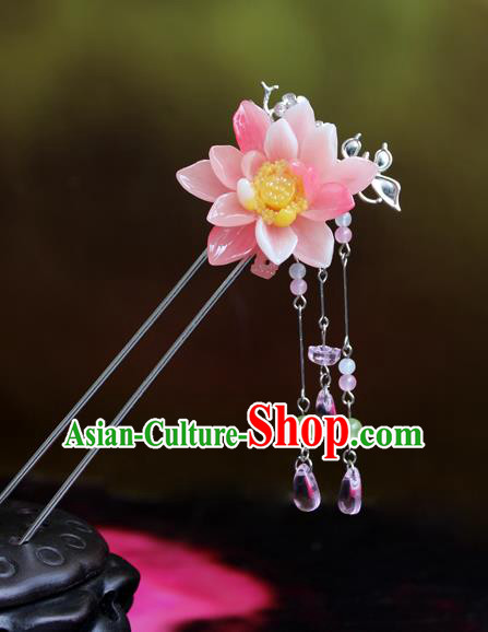 Chinese Ancient Handmade Hair Accessories Hairpins Classical Hanfu Pink Flowers Step Shake for Women