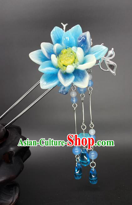 Chinese Ancient Handmade Hair Accessories Hairpins Classical Hanfu Blue Flowers Step Shake for Women