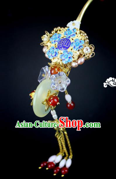 Chinese Ancient Handmade Hair Accessories Wedding Jade Tassel Hair Clip Classical Hanfu Hairpins for Women