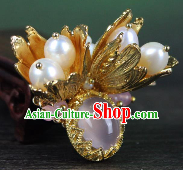 Chinese Ancient Handmade Hair Accessories Classical Hanfu Golden Hair Claw for Women