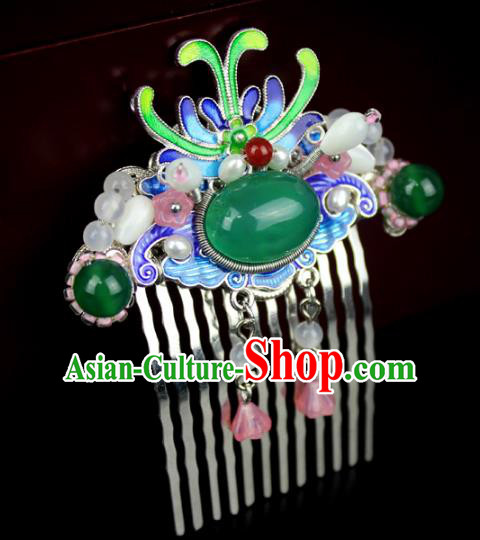 Chinese Ancient Handmade Hair Accessories Blueing Hair Combs Classical Hanfu Hairpins for Women