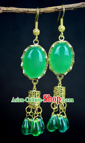 Chinese Ancient Handmade Accessories Green Agate Earrings Crystal Hanfu Eardrop for Women