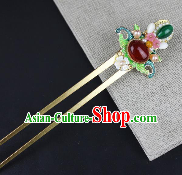 Chinese Ancient Handmade Hair Accessories Pearls Hair Clip Classical Hanfu Agate Hairpins for Women