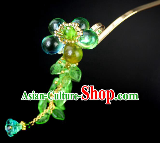 Chinese Ancient Handmade Hair Accessories Green Coloured Glaze Step Shake Classical Hanfu Hairpins for Women