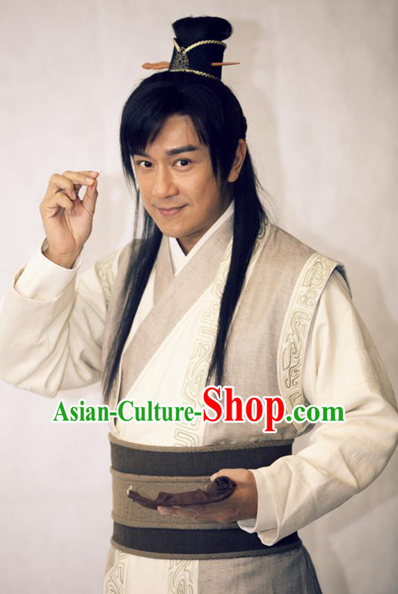 Traditional Chinese Wei and Jin Dynasties Medical Scientist Acupuncturist Huangpu Mi Replica Costume for Men