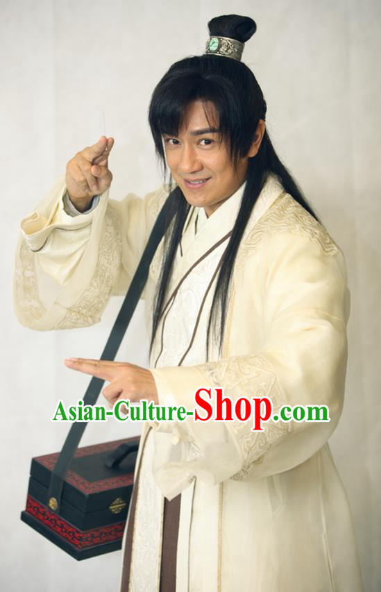 Traditional Chinese Wei and Jin Dynasties Physician Medical Scientist Acupuncturist Huangpu Mi Replica Costume for Men