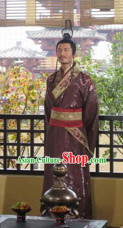 Traditional Chinese Han Dynasty Emperor Liu Che Replica Costume for Men