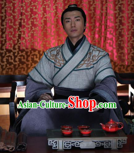 Chinese Ancient Warring States Period Prince Swordsman Replica Costume for Men
