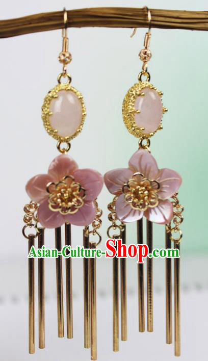 Chinese Ancient Handmade Accessories Agate Earrings Pink Flowers Eardrop for Women